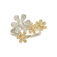 14K Yellow and White Gold Diamond Pave Flower Ring