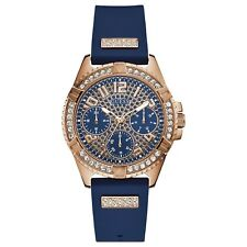 Guess Women's Rose Gold Tone Stainless Steel & Blue Rubber Strap Watch W1160L3