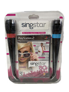 NEW - Playstation 2 SingStar '80s Two Microphones + Game - SEALED PS2