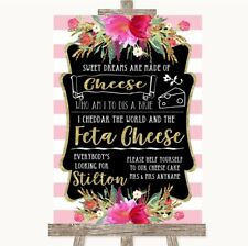 Wedding Sign Poster Print Gold & Pink Stripes Cheesecake Cheese Song