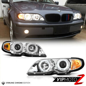 For 02-05 BMW E46 325 330 4-DR Sedan LED Angel Eye Halo Projector Headlight Lamp