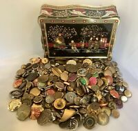 Vintage Asian Theme Tea Tin With Large Lot Of Metal Buttons