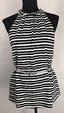 New Directions Womens Top Stripes Halter Neck Black White Size Medium NWT