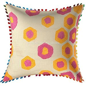 Ethnic Cotton Geometric 16x16 Terry Embroidered Pom Pom Throw Pillow Cover