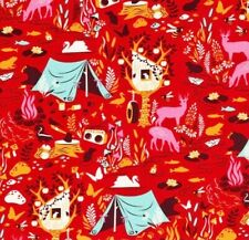 OOP Tula Pink - MOON SHINE - Forest Frivolity - Strawberry , 100% cotton Fabric