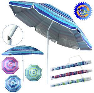 Sonnenschirm gestreift UV-Schutz 50+ 180cm Stahl Kippfunktion höhenverstellbar