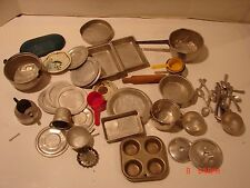 VINTAGE DOLL CHILDS DISH SET KITCHEN PLAY SET POT PANS METAL COOKING TOY FORKS