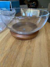 Nambe Cooper Glass Salad Bowl with Acacia Wood Base & Servers - Natural $140🌸