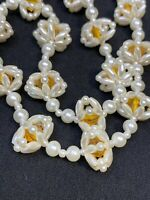 Vintage 1950's Amazing woven imitation pearl beaded Necklace Amber Bead Inside