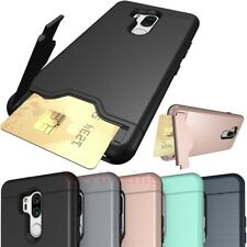 Hybrid Shockproof Wallet Card Holder Case Cover For LG G7 G6 Samsung S9 A8 2018