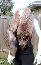 "Real Crystal Cross Fox Fur Double Sided Fluffy Pelt Scarf Boa Wrap 54.5"" L MINT!"