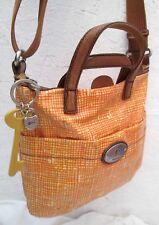 Joli sac à main  en toile et cuir  FOSSIL à saisir bag