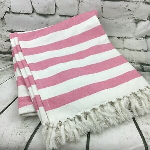 "Area Rug Pink Striped Woven Tassel Trim 100% Cotton Home Decor 54""X66"""