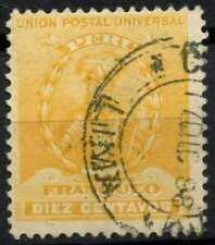 Peru 1896-1900 SG#342, 10c Yellow, Pizarro Used #E1273