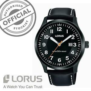 Lorus Classic Quartz Black Leather Strap Steel Men's Watch RH941HX9 RRP £59