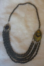 Alexis Bittar Lucite Peacock Gunmetal Multi Strand Chain Necklace