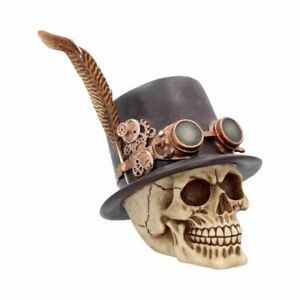 "Steampunk ""The Aristocrat"" Skull Top Hat Bird's Feather Resin Ornament 18.5cms"