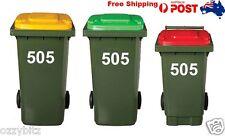 3 X Wheelie garbage Rubbish Bin stickers House Number Vinyl Stickers 15cm Hight