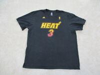 Adidas Miami Heat Shirt Adult 2XL XXL Black Yellow Basketball Dwyane Wade Mens