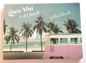 Pink VW Bus Placemats Love You Set of 4 Vinyl Beach Summer House Foam Back