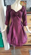 JASMINE GUINNESS SIZE 14 PURPLE AUBERGINE DRESS 50S VINTAGE