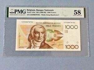 Belgium 1,000 Francs P-144a ND(1980-96)  PMG 58