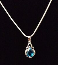 """Blue Sapphire 925 Sterling Silver Pendant Necklace ~ 20"""" Snake Chain"""