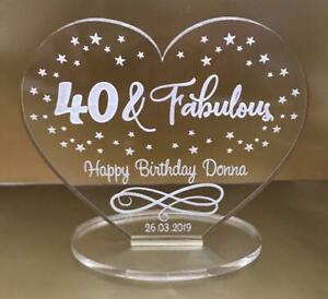 Personalised happy birthday 30th 40th 50th and fabulous anniversary gift heart