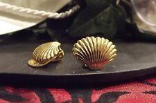 Ohrschmuck Ohrclips leicht Muschel groß Schellmuschel vergoldet Gold plated K2