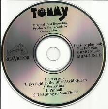 THE WHO Tommy ORIGINAL CAST SAMPLER 5TRX PROMO DJ CD GEORGE MARTIN 1993 USA MINT