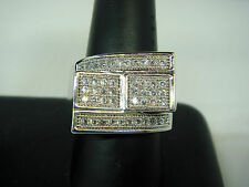 Mens New 925 Sterling Silver White Gold Finish Lab Diamond Ring Size 10