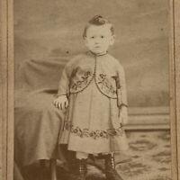 Antique CDV Photograph Adorable Little Boy Child in Dress Cincinnati, OH