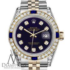 Rolex SS & Gold 36mm Datejust Watch Purple Dial with Sapphire & Diamond Bezel