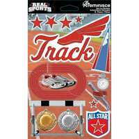 Real Sports Dimensional Cardstock Stickers Track 895707189086