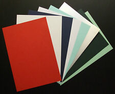 A4 COLOURED CARD, RED, SATIN SILVER, CORD GREEN, CORD BLUE