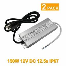 (2 Pack) LED Driver Waterproof IP67 Power Supply 150W 12V DC 12.5a Transformer