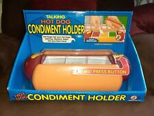 The Original Talking Hot Dog Condiment Holder W/ Removable Tray Sliding Lid New