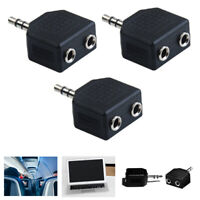 3PCS 3.5mm Cable Stereo Y-Split 2 Way Adapter Headphone Plug Male 2X Female Jack