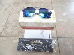 NEW Maui Jim HALEIWA Black Gloss & Blue Hawaii Polarized Sunglasses B328-02