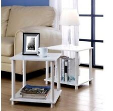 Two Side Tables Storage Shelf Coffee Lamp Sofa End Furniture Living Room Modern