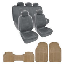 Best Price Gray PU Leather Seat Covers & Beige 3 Piece PVC Mats set by BDK