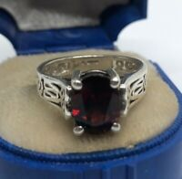 Vintage Sterling Silver Ring 925 Size 6 Red Stone Garnet