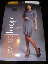 WOMENS NEW WEST LOOP ULTRA SHEER OFF BLACK STOCKINGS PANTYHOSE NYLONS SIZE C