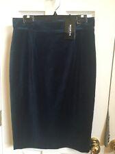 W By Worth New York Peacock Velvet High Waist Skirt $358 Sz 8 Dark Blue