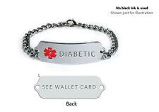 DIABETIC Medical Alert ID Bracelet. Free medical Emergency Card!