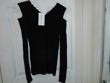 Red Queen Black Cold Shoulder Sweater Junior's Size Large New With Tags