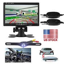"7""TFT LCD Rear View Monitor+Wireless License Plate IR Night Vision Backup Camera"