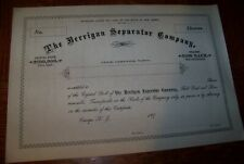 c1890 Berrigan Separator Co Orange Nj $100 Stock Certificate Unused Scripophily