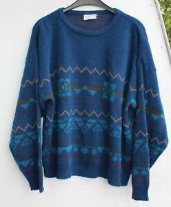 Strickpulli Pullover Wolle Freizeit Größe L retro vintage blau