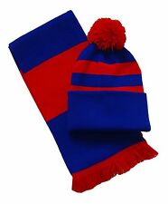 Royal Blu e Rosso, Sciarpa e Cappello Set-Made in UK